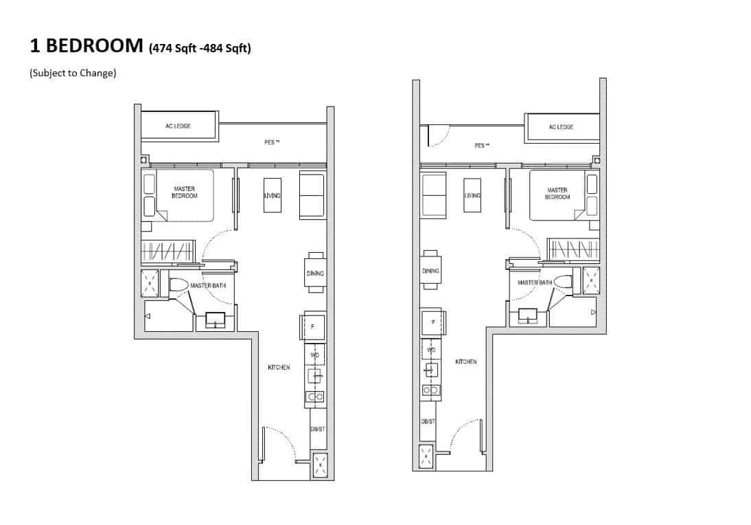 Affinity 1 Bedroom Floor Plan