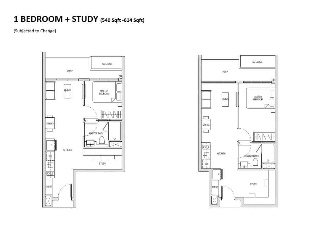 Affinity 1 Bedroom + Study Floor Plan