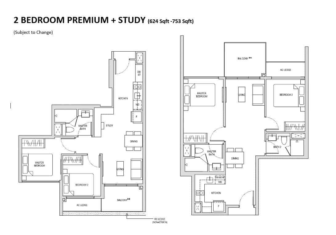 Affinity 2 Bedroom + Study Floor Plan